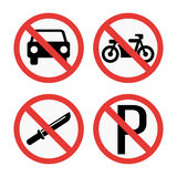 Prohibition signs set safety information vector illustration. Stock Photo