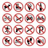 Prohibition signs set safety information vector illustration. Prohibition signs set vector illustration. Warning danger symbol forbidden safety information Royalty Free Stock Image