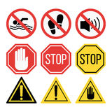 Prohibition signs set safety information vector illustration. Prohibition signs set vector illustration. Warning danger symbol forbidden safety information Stock Images