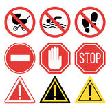 Prohibition signs set safety information vector illustration. Stock Images