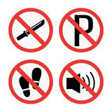 Prohibition signs set safety information vector illustration. Stock Photography