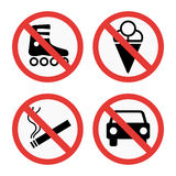 Prohibition signs set safety information vector illustration. Prohibition signs set vector illustration. Warning danger symbol forbidden safety information Royalty Free Stock Images