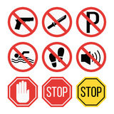 Prohibition signs set safety information vector illustration. Royalty Free Stock Photos