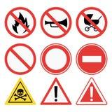 Prohibition signs set safety information vector illustration. Prohibition signs set vector illustration. Warning danger symbol forbidden safety information Stock Photos