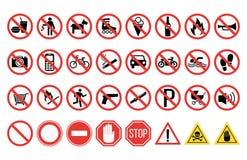 Prohibition signs set safety information vector illustration. Prohibition signs set vector illustration. Warning danger symbol forbidden safety information stock illustration