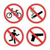 Prohibition signs set safety information vector illustration. Stock Photos