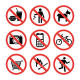 Prohibition signs set safety information vector illustration. Royalty Free Stock Image