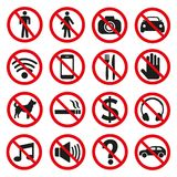 Prohibition signs set safety on white background. royalty free illustration