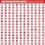 180 prohibition signs set vector. 180 prohibition signs isolated on white background. Big set prohibition icons symbols vector illustration vector illustration
