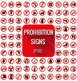 Prohibition signs vecter set Royalty Free Stock Images