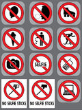 12 prohibition signs vector set. 12 different prohibition signs vector set Royalty Free Stock Photos