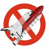 Prohibition of space shuttle. Strict ban on construction of spaceship, forbid. Stop universe discovering. Vector master illustration. Isolated flighting stock illustration