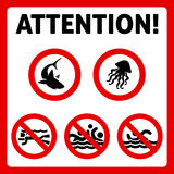 Prohibition swimming sign Stock Images
