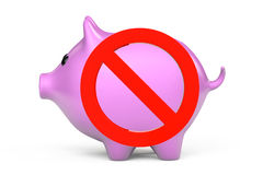 Prohibition symbol and Piggy Bank Royalty Free Stock Image