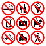 Prohibition symbols set. Stock Images