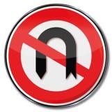 Prohibition for u-turn Stock Photos
