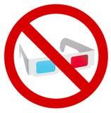 Prohibition of use of 3d eyeglasses. On white background royalty free stock photos