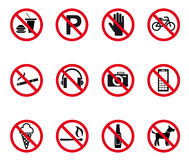 Prohibition and warning signs. Set. Vector illustration Royalty Free Stock Image