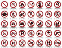 35 Prohibition & Warning Signs - Iconset. Icons - Editable Vector Icons stock illustration