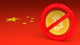 Prohibitive sign with a bitcoin inside on a Chinese flag. 3D illustration Stock Photos