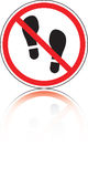 Prohibitive sign with an imprint from boot Royalty Free Stock Images