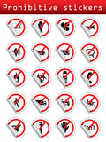 Prohibitive stickers for various places Stock Photography