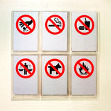 Prohibitory information signs. On sky train - Thailand Stock Image