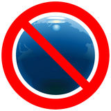 Prohibitory road sign with Earth. Prohibitory road sign with globe Earth royalty free illustration