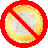 Prohibitory road sign with Euro coin. Prohibitory road sign with the Euro coin stock illustration