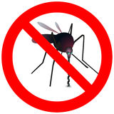 Prohibitory road sign with mosquito. Prohibitory road sign with big mosquito stock illustration