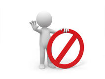 Prohibitory sign. A 3d people is holding a prohibitory sign royalty free illustration