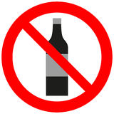 Prohibitory sign with an alcohol bottle. Prohibitory sign with an alcohol black bottle vector illustration