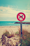 Prohibitory Sign. On the Beaches of  French Riviera, Instagram Effect Stock Image