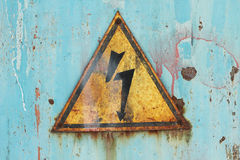 Prohibitory sign high voltage. Background Royalty Free Stock Photo
