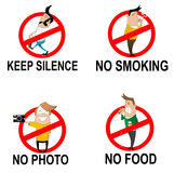 Prohibitory signs in cartoon style Royalty Free Stock Photos