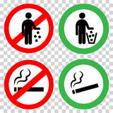 Prohibitory signs. Do not litter, do not smoke. Royalty Free Stock Images