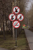 Prohibitory signs. In the recreation area Stock Images