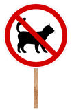 Prohibitory traffic sign - Cat. Prohibitory traffic sign isolated on white 3D illustration - Cat Royalty Free Stock Images