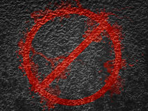 Prohibitory traffic sign isolated on black metal. Bronze metal texture Stock Images