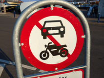 Prohibitory traffic sign. The passage of  motorcycles scooters and cars prohibited Royalty Free Stock Photo