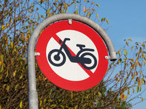 Prohibitory traffic sign. The passage of  motorcycles scooters prohibited Royalty Free Stock Photo