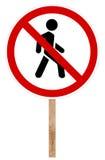 Prohibitory traffic sign - Pedestrian traffic Stock Photo