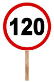 Prohibitory traffic sign - Speed limit 120. Prohibitory traffic sign isolated on white - Speed limit Royalty Free Stock Images