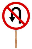 Prohibitory traffic sign - U-turn forbidden Royalty Free Stock Photos