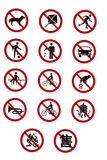 Prohibitory Traffic Signs - Rules and Regulations. Prohibitory Traffic Signs - Forbidden by Rules and Regulations Stock Images