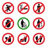 Prohibitory vector icons Royalty Free Stock Photo