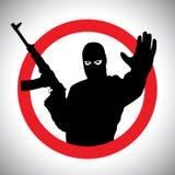 Prohibitory znak sylwetka wojskowy z jego ręką podnoszącą Obraz Stock