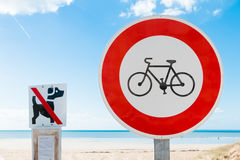 Prohibits bikes sign and  prohibits dogs sign Stock Photo