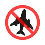 A proibição do voo do avião do sinal, voo proibido, símbolo da parada na ilustração lisa do logotipo do projeto vermelho do círcu ilustração royalty free