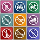 Proibição dos ícones Fotografia de Stock